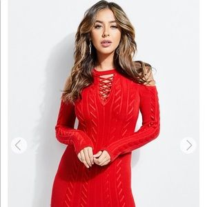 Guess red laced up dress